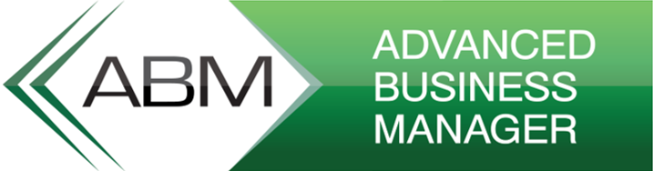 Rectangular white/green logo featuring ABM text(black/left) and Advanced business manager  text(white/right). Best bespoke accounting software