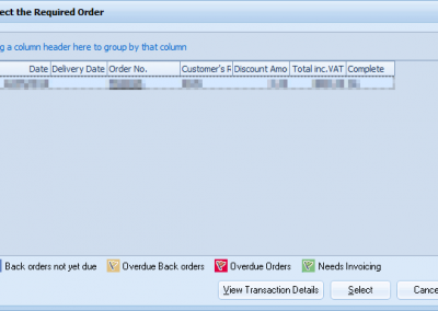 User interface of choosing a delivery to invoice