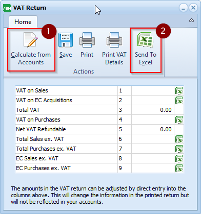 Screenshot demonstrating the steps to creating a VAT Return in ABM